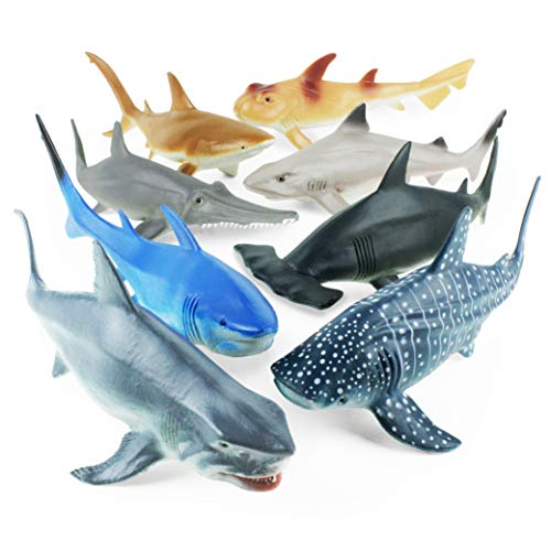 Boley Shark Toys - 8 Pack 10' Long Soft Plastic Realistic Shark Toy Set - Toddler Sensory Toys and Birthday Party Favors for Kids