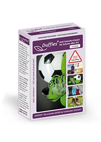 Anti-Geruchsbeutel für Schuhe und Taschen, beseitigt Gerüche in Schuhen, Turnschuhen & Sporttaschen, mit Bambus-Aktivkohle, Luftreinigungsbeutel, tolles Design, Duffies (2 x 150g) (Fußballschuhe)