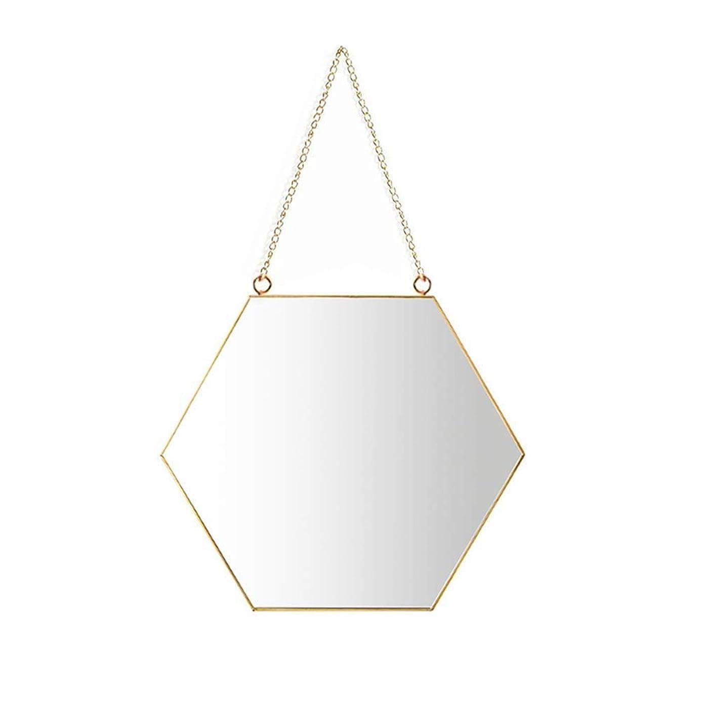 偽善者補正謝罪掛かるミラー、掛かる鎖が付いている六角形の浴室の構造ミラーの真鍮の終わり[小さいサイズ] (サイズ : 30*0.5*26cm)