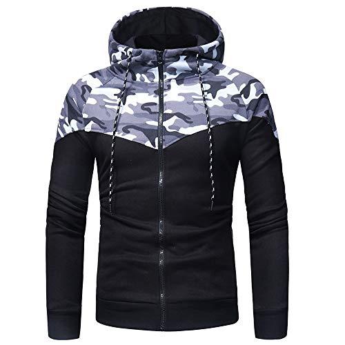 NLZQ Sweat Capuche pour Homme Fermeture éclair Épissage Style Tendance Haut Motif Camouflage 2021 Automne et Hiver Nouveau Sweatshirt Mode Casual Sweatshirt Chemise d'entraînement ajustée XL
