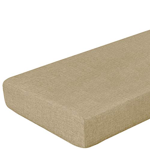 Linen Fabric Sofa Cushion Couch Cover, Oversized Sofa Furniture Protector Slipcover with Elastic Bottom, Soft Non-Slip Non-Wrinkle Non-Sticky Suitable for Chair Settee Seat Loveseat(Khaki,Sofa) -  Naturoom