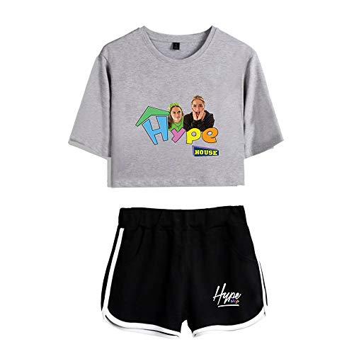 HYPETY Le Costume Deux Pièces Haut Court Et Short De La Maison Hype, Tenue Décontractée pour Fille,Gray 1,S