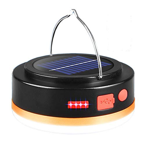 Monllack Luz de Bombilla Solar Carga USB Luz LED para Acampar Luz de Emergencia para el hogar Pantalla electrónica Impermeable al Aire Libre (Oro Negro)