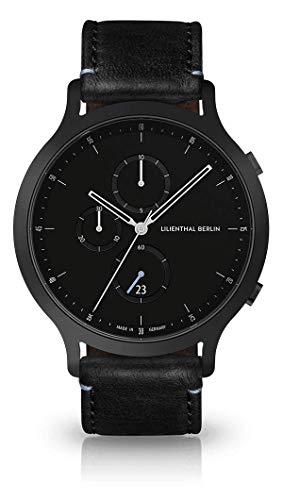 Lilienthal Berlin Chronograph Armbanduhr (Gehäuse: schwsarz/Zifferblatt: schwarz/Armband: Leder schwarz)