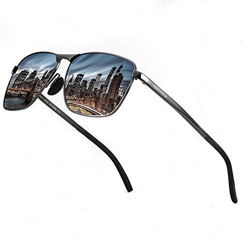 Óculos de sol polarizados retangulares ultra leves para homens – Óculos de sol para pesca de golfe armação de metal 100% proteção UV 2462