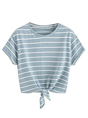 ROMWE Women's Knot Front Long Sleeve Striped Crop Top Tee T-shirt, Green & White, Small(US 0-2)