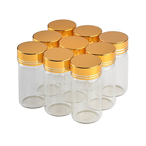 12units 25CC Empty Jars Glass Bottle with Aluminium Golden Color Screw Cap 25ml Sealed Liquid Food Gift Container (12, 25ML-Golden Lid)