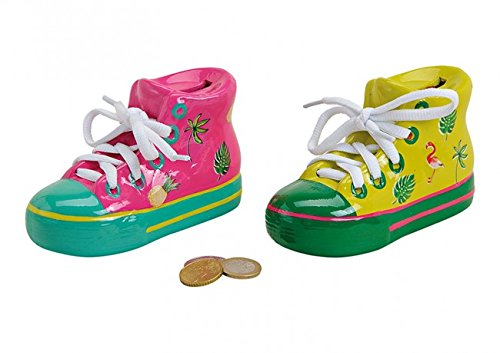 1 x Spardose Schuhe Kinderschuh,Babyschuh Flamingo, Ananas Dekor aus Keramik Bunt