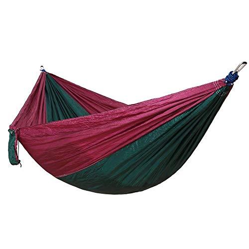 Nuokix Hammocks, 275x140Cm Outdoor Hammock Camping Hammock Double Widened Hammock Outdoor Parachute Cloth Hammock Camping Swing-Deep Purple +Dark Green Outing Camping
