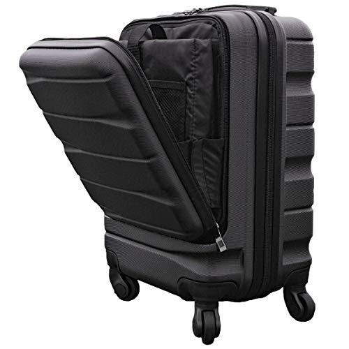 スーツケース 機内持込 フロントオープン ラッキーパンダ luckypanda TY2876 ファスナータイプ TSAロック 機内持ち込み可 小型 Sサイズ 300円 コインロッカー サイズ 対応 (ブラック)