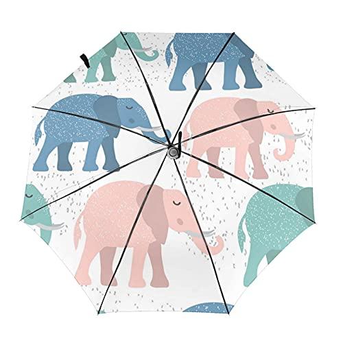 Donono Paraguas automático de tres pliegues 3d impresión infantil sin costuras patrón con lindo elefante portátil protección UV paraguas de lluvia dentro de impresión para uso diario