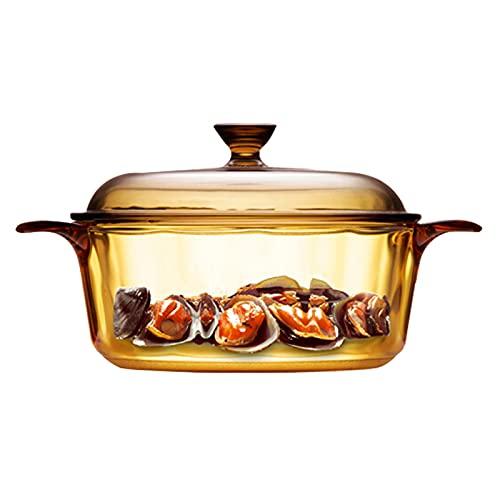 Pillows-RJF Olla de Vidrio para cocinar Transparente Borosilicato Olla de Cocina Resistente al Calor Juego de ollas con Mango Cristalería Tazón de Vidrio para Pasta Leche, 4 tamaños (Size : 2.25L)