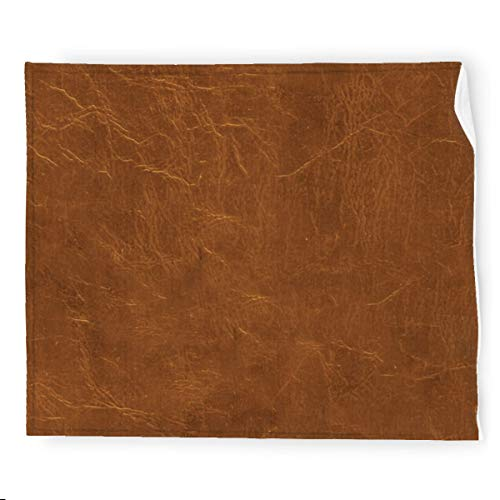 Natural Brown Leather look Flannel Blanket Bedding Throw Blanket Soft Warm Cozy Colorful Decorative Blanket for Couch, Sofa 50'x60'