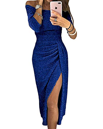 kenoce Womens Dresses Off The Shoulder Sequin High Slit Party Evening Long Maxi Dress Prom Cocktail Wedding Navy Blue Medium