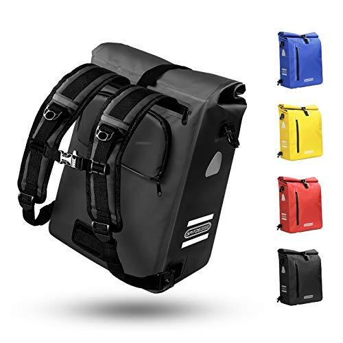 Fahrradtasche für Gepäckträger 3in1 Geeignet als Gepäckträgertasche, Rucksack und Umhängetasche 100% Wasserdicht 18L&25L Fahrradtaschen mit 4 Reflektoren für Pendeln, Einkaufen, Radtour (Schwarz 25L)