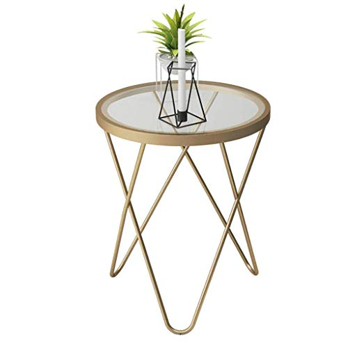 GAXQFEI Tische Eisen-Couchtisch-Glas-Seite Ein Paar Goldene Kleine Runde Tischemall-Beistelltisch Nordic Für Wohnzimmersofa,Gold
