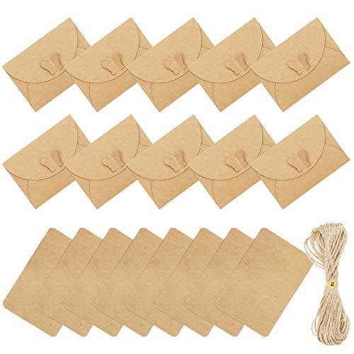 CINMOK 170TLG Kraftpapier Karten mit Umschlag Set 70 Mini Briefumschläge 100 Geschenkkarten mit Jute Schnur Klein Weihnachtskarten Briefkuvert für Einladung Geschenke Weihnacht Hochzeit Geburtstag