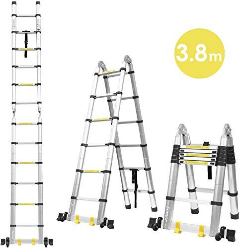 FIXKIT 3,8M Alu Teleskopleiter Klappleiter, ausziehbare Leiter Teleskop-Design mit 2 Rollen 150 kg Belastbarkeit
