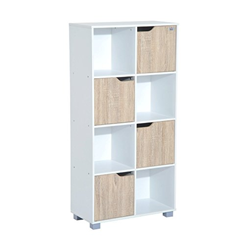 homcom Libreria Design a 8 Scompartimenti Scaffale per Libri in Legno Bianco Rovere, 60 x 30 x 122cm