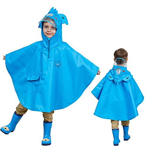 Gudotra Kinder-Poncho, leicht, Regenanzug, Unisex, wasserdicht, Regenmantel, Blau-L