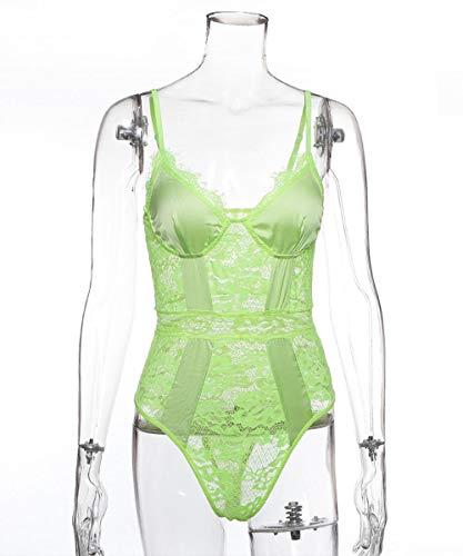 FPXNBONE Camisones Encaje Babydoll con Cordn,Uniforme de Encaje Forjado, lencera Sexy-Green_L,Encaje con Cordn Pijamas Femenina Hot