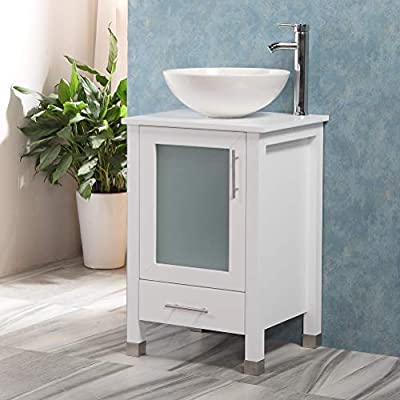 """QIERAO 20"""" Bathroom Vanity with Sink Combo Stand Cabinet and White Ceramic Vessel Sink and Stainless Steel Faucet, White"""