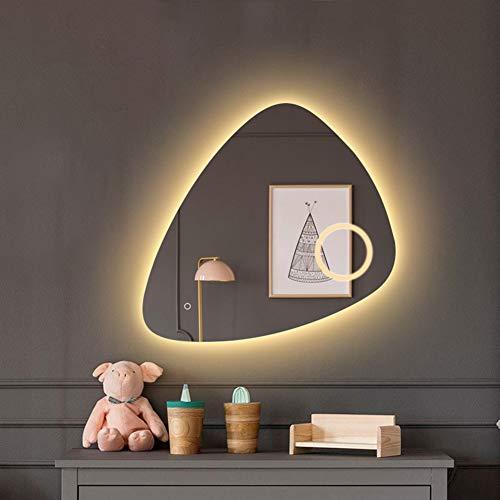 80 * 80 cm Espejo de baño LED Iluminación Montado en la Pared Espejo de vanidad con luz - Moderno Botón táctil - 3X Lupa - Iluminar Desde el Fondo Sin Marco Anti Niebla