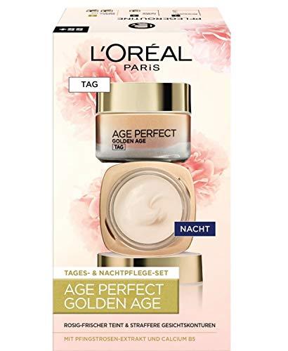 L'Oréal Paris Age Perfect Golden Age Geschenkset, Tag und Nacht Gesichtscreme mit Pfingstrosen-Extrakt, Anti-Aging Feuchtigkeitscreme für rosig-frischen Teint, 2x 50ml