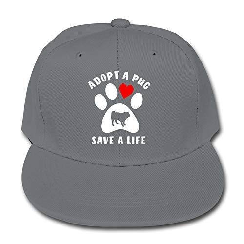 Whhfashion Adopt A Pug Save A Life - Gorra de béisbol para niños y niñas, diseño de hip hop, gorra ajustable de senderismo 6-12T, color negro