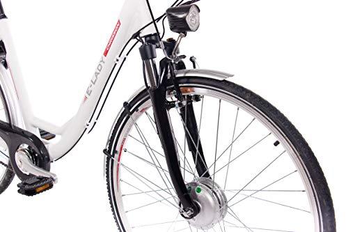 CHRISSON 28 Zoll E-Bike Trekking und City Bike für Damen – E-Lady Weiss mit 7 Gang Shimano Nexus Nabenschaltung – Pedelec Damen mit Bafang Vorderradmotor 250W, 36V Bild 6*