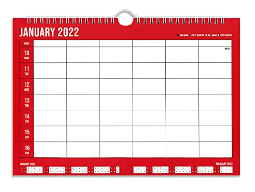 2022 Family Organiser Weekly Engagement Wall Calendar and Planner Week To View – A4 Large Print Extra Wide 5 Column – High Quality Paper with a Matte Finish