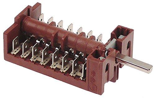 Fagor - Interruptor de levas para CGE9-41, CGE7-41, CE9-41, CE7-41, HE9-10, eje de 8 pines, diámetro de 6 x 4,6 x 23 mm, conector plano conector 8NO 16 A
