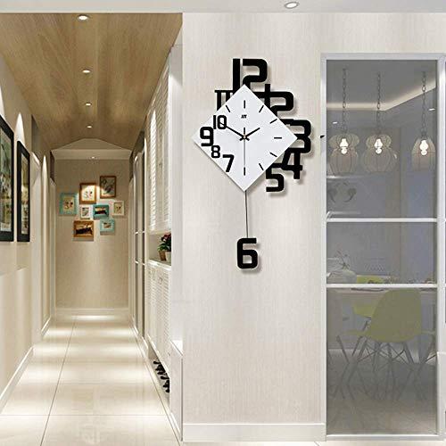 Moderne dekorative Wanduhr mit Pendel,große quadratische einfache Pendeluhr,Holz schwarz weiß für Wohnzimmer Cafe Restaurant,schwarz,50x84cm