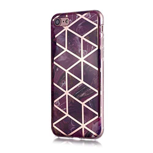 Fatcatparadise für iPhone 6S/6 Plus Hülle (5,5 Zoll) + Displayschutz, Galvanisiert Marmor Weich Silikon Handyhülle Schlank TPU Bumper Handytasche Gummi Dünn Abdeckung Schutzhülle (Lila)