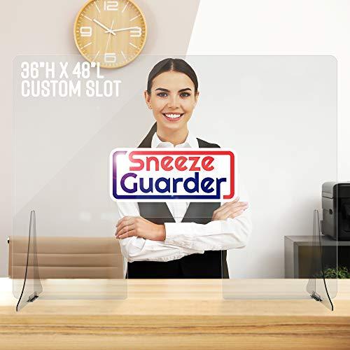 No Slot, Custom Slot Size | Ships Next Day | 36'H x 48'L | Sneeze Guarder Plexiglass Shield for Desk Sneeze Guard | Multiple Sizes Available