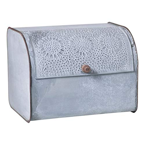 Rustic Metal Bread Box in Weathered Zinc Vintage Farmhouse Kitchen Bread Bin