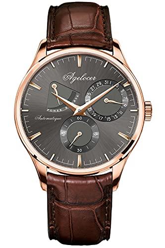 Agelocer Reloj de los hombres de la marca superior masculina 316L acero reloj mecánico automático relojes calendario reserva de energía relojes analógicos