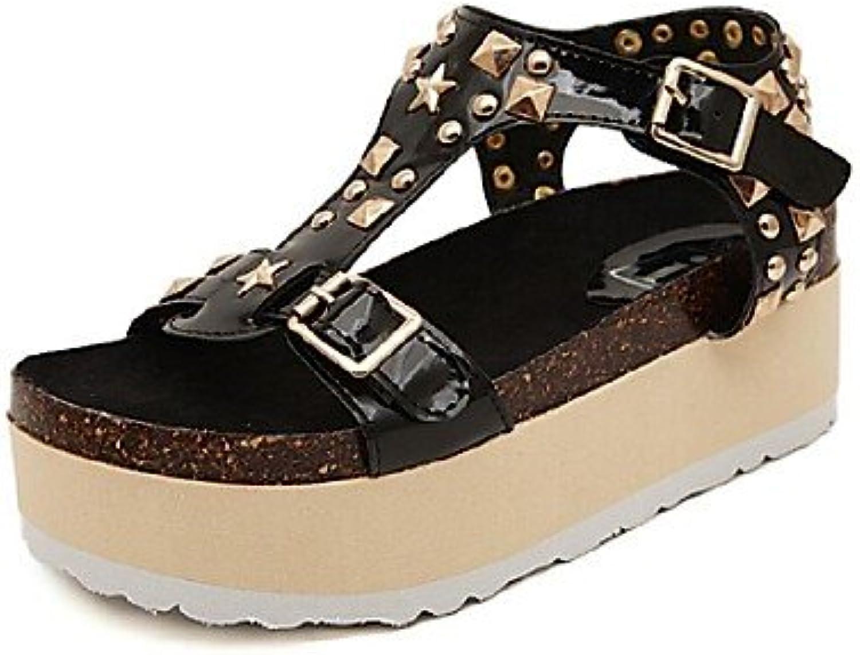 MEIREN Women's shoes Platform Platform Open Toe Sandals Casual Black Silver