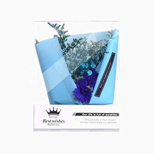 Andouy Seifen Blume DIY Kunstblumen Brautstrauß Geschenk für Freundin, Muttertag, Valentinstag, Geburtstag, Hochzeit, Jubiläum(12.7x8.8x16.3cm.Blau-1)