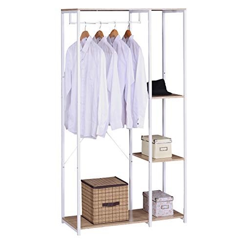 eSituro SGR0045 Kleiderständer Wäscheständer Garderobenständer Hängeregal mit Schuhregal Holz Metall Weißrohre und Eiche Platte …