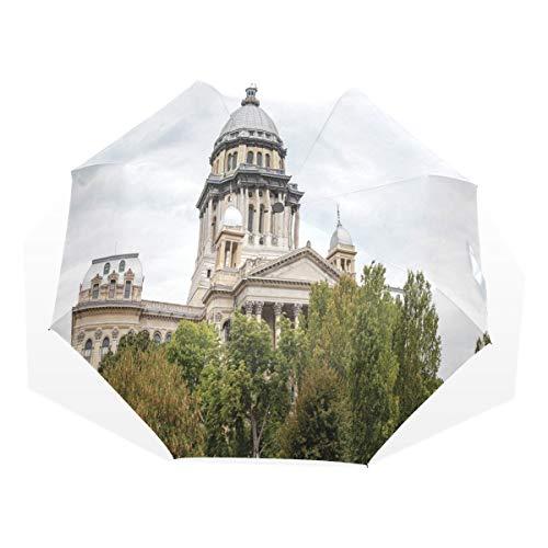 LASINSU Paraguas Resistente a la Intemperie,protección UV,Edificio histórico del Capitolio Americano Gobernador de Springfield Política