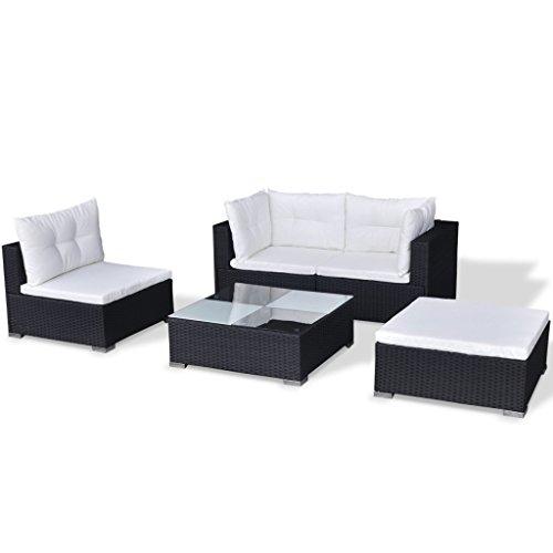 Festnight 14-TLG. Gartensofa Set mit 1 Teetisch Gartenlounge Garten Lounge-Set aus Polyrattan Loungegruppe für Terrasse Garten - Schwarz
