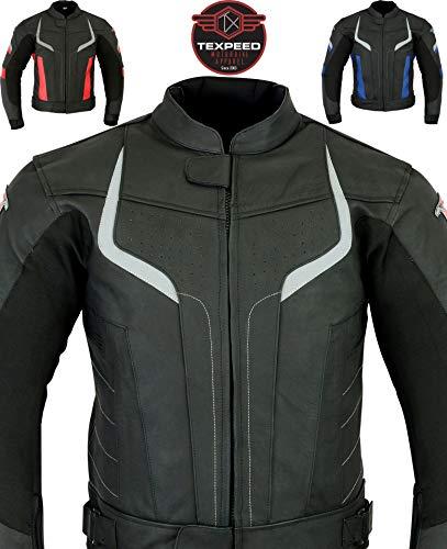 Texpeed Pro - Herren Motorradjacke aus schwarzem Leder für Rennen - entfernbare Protektoren - erhältlich in 3 Farben
