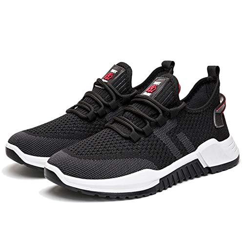 Entrenadores Hombres Zapatillas de Deporte, Personalidad Casual Ligthweight Malla Transpirable Correr Zapatos Deportivos Fitness Zapatos Atléticos al Aire Libre,Negro,42