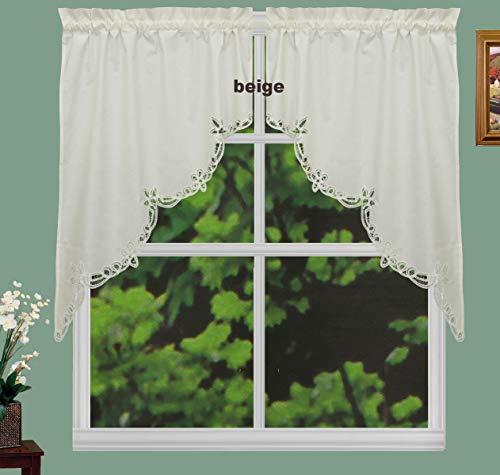 "Creative Linens Battenburg Lace Kitchen Curtain 38"" L Swags Ecru Beige"