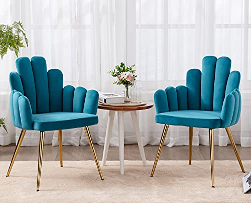 Wahson Set of 2 Dining Chairs Velvet Kitchen Corner Chairs Upholstered Side Chair with Gold Metal Legs, Modern Leisure Armchair for Bedroom/Living Room/Restaurant, Blue