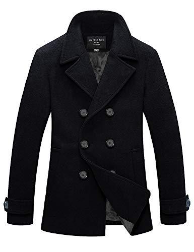 Match Mens Wool Blend Classic Pea Coat Winter Coats(010, Dark Sapphire Blue Medium)