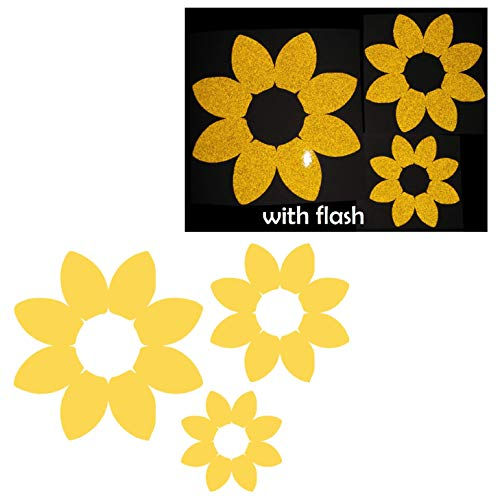 3X Sunflower Flower Floral Yellow Reflective Decal Decals Vinyl Sticker High Visibility for Motorcycle Bike Bicycle Car Helmet Tailgate Laptop Notebook Window Door