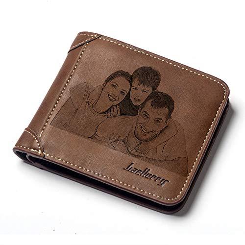Cartera personalizada con grabado pesonalizado para hombre, personalizable, con foto de la cartera, ideal para el día del padre, aniversario, para papá, novio, marido, regalos