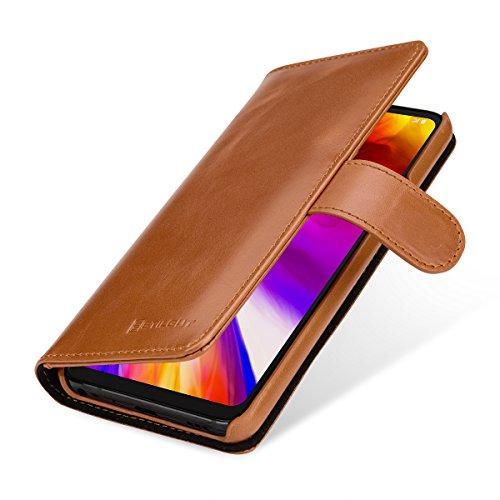 StilGut Talis Lederhülle für LG G7 ThinQ mit Kreditkarten-Fächern aus echtem Leder. Seitlich aufklappbares Flip Hülle in Brieftaschen-Format, Cognac